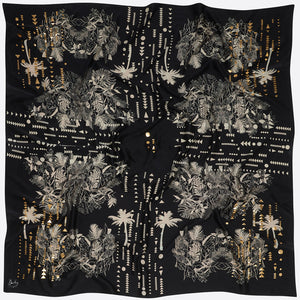 Sophie Darling Hand Printed Satin Silk Large Black Tropical Print Scarf Flat Lay