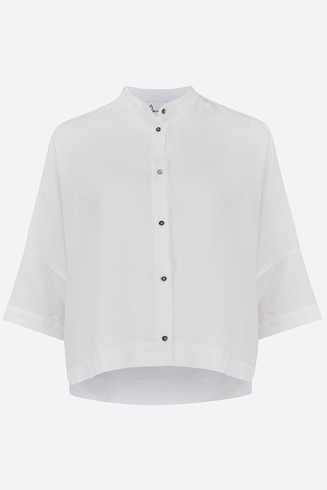 White Tailored Satin Shirt
