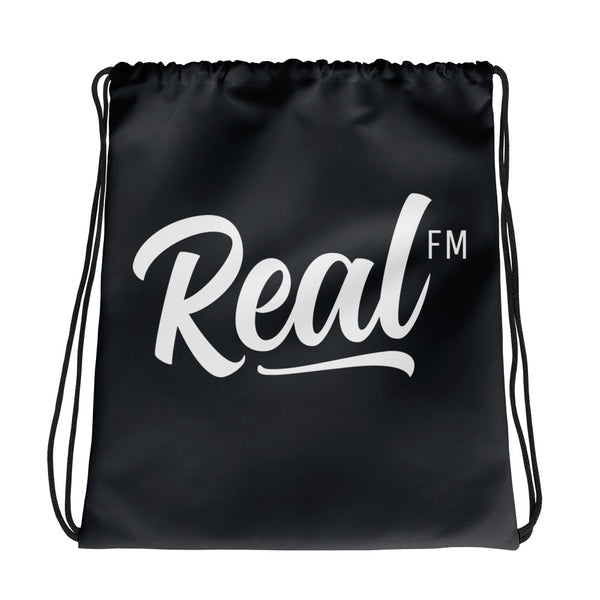 Real FM Charcoal Drawstring Bag