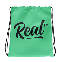Real FM Green Drawstring Bag
