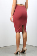 Khaki Skirt with Invisible Zipper at Back