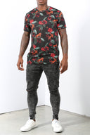 Mens Floral Rolled Sleeves Tee V2