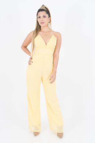 YELLOW LACE JUMPSUIT