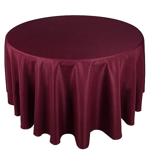 Burgundy 108 Inch Polyester Round Tablecloths