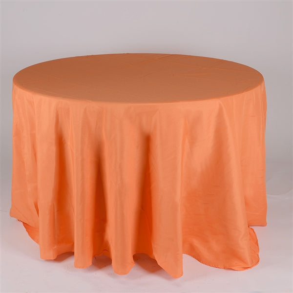 Orange 108 Inch Polyester Round Tablecloths