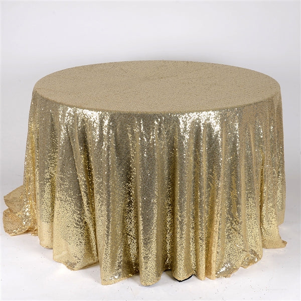 Champagne 120 inch Round Duchess Sequin Tablecloth