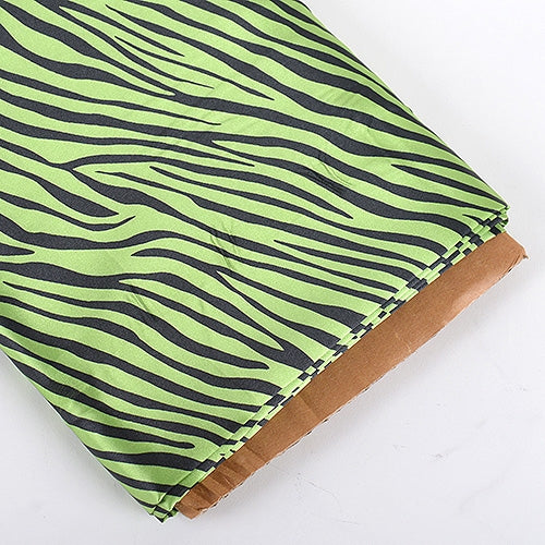 Apple Green Zebra Print Satin Fabric 58x10 Yards