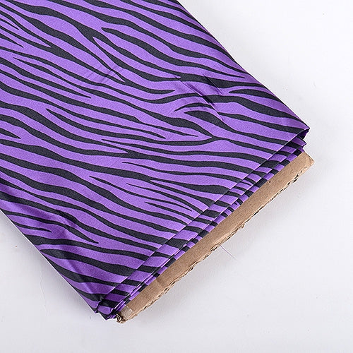 Purple Zebra Print Satin Fabric 58x10 Yards
