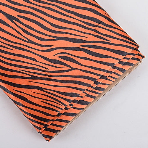 Orange Zebra Print Satin Fabric 58x10 Yards