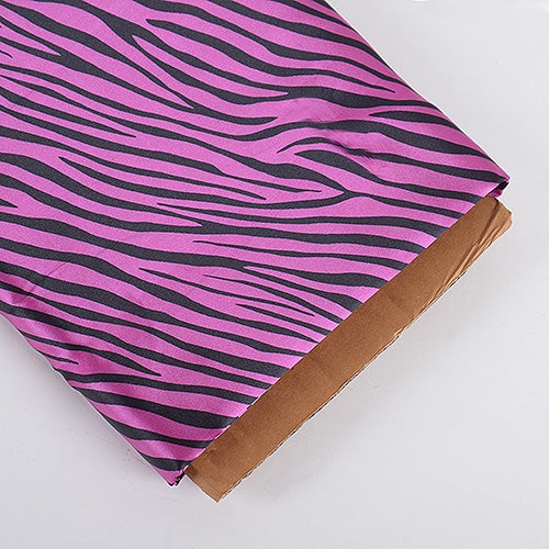 Fuchsia Zebra Print Satin Fabric 58x10 Yards