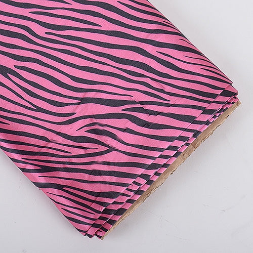 Hot Pink Zebra Print Satin Fabric 58x10 Yards