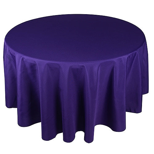 Purple 132 Inch Round Polyester Tablecloths