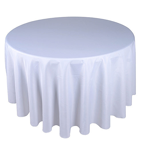 Silver 132 Inch Round Polyester Tablecloths