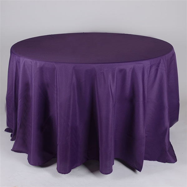Plum 132 Inch Round Polyester Tablecloths