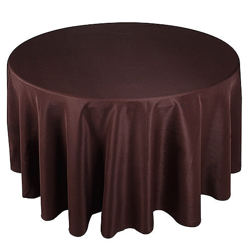 Chocolate Brown 132 Inch Round Polyester Tablecloths
