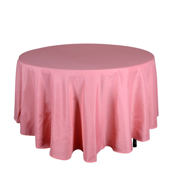 Coral 132 Inch Round Polyester Tablecloths