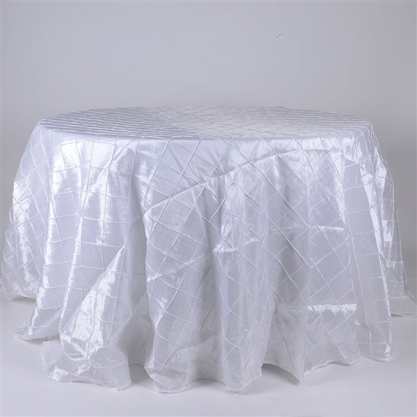 White - 132 inch Round Pintuck Satin Tablecloth