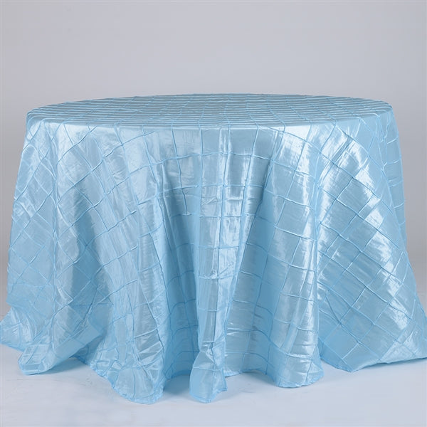 Light Blue - 132 inch Round Pintuck Satin Tablecloth