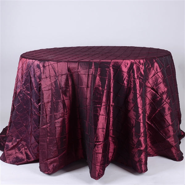 Burgundy - 132 inch Round Pintuck Satin Tablecloth