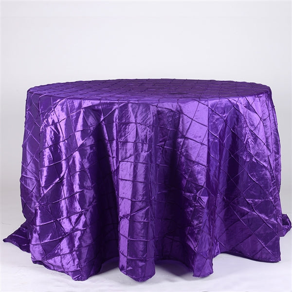 Purple - 132 inch Round Pintuck Satin Tablecloth