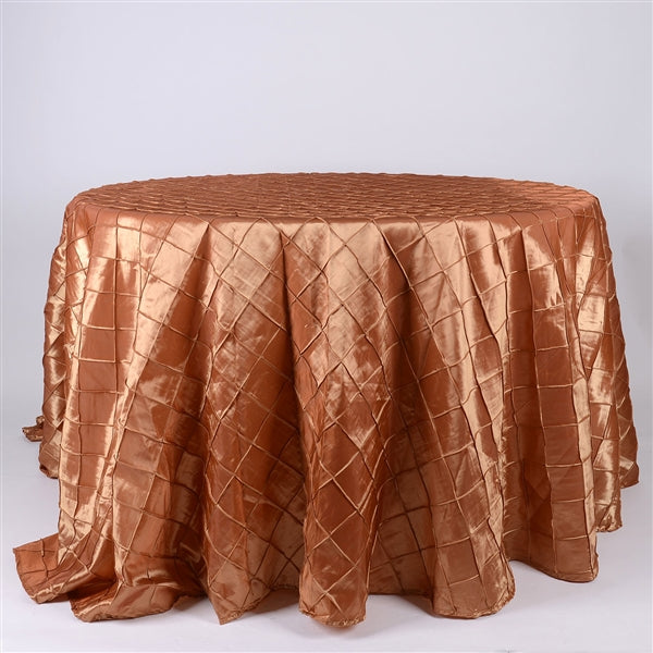 Gold - 132 inch Round Pintuck Satin Tablecloth