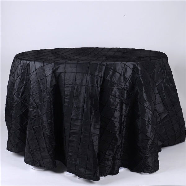 Black - 132 inch Round Pintuck Satin Tablecloth