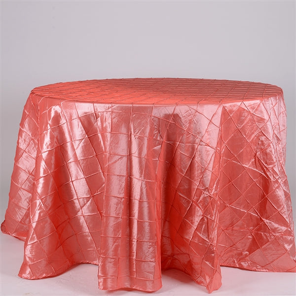 Coral- 132 inch Round Pintuck Satin Tablecloth