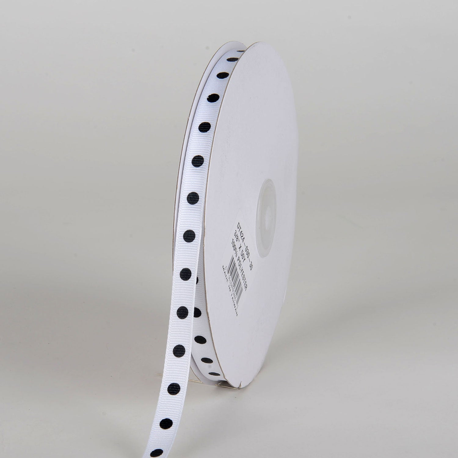 Grosgrain Ribbon Polka Dot White with Black Dots ( W: 3/8 inch | L: 50 Yards )