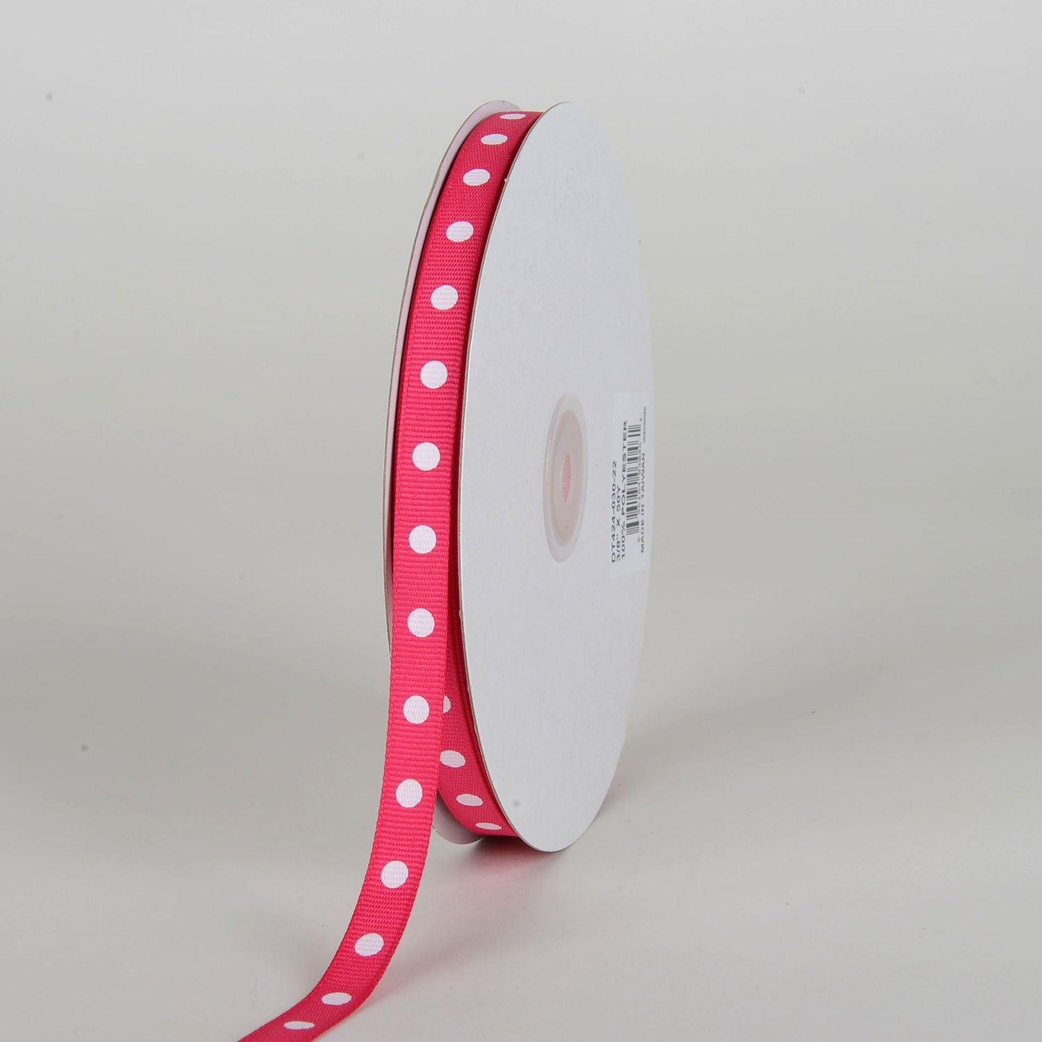 Grosgrain Ribbon Polka Dot Fuchsia with White Dots ( W: 3/8 inch | L: 50 Yards )