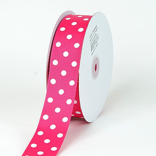 Grosgrain Ribbon Polka Dot Fuchsia with White Dots ( 1-1/2 inch | 50 Yards )