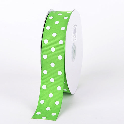 Grosgrain Ribbon Polka Dot Apple Green with White Dots ( 1-1/2 inch | 50 Yards )