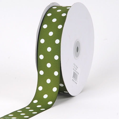 Grosgrain Ribbon Polka Dot Old Willow with White Dots ( 1-1/2 inch | 50 Yards )