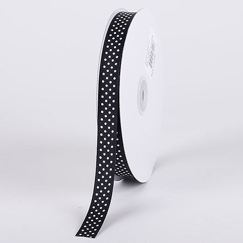Grosgrain Ribbon Swiss Dot Black with White Dots ( W: 3/8 inch | L: 50 Yards )