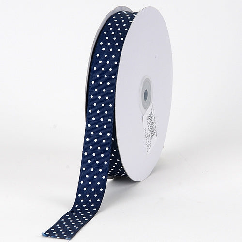 Grosgrain Ribbon Swiss Dot Navy with White Dots ( W: 3/8 inch | L: 50 Yards )