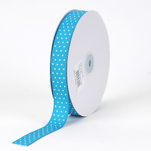 Grosgrain Ribbon Swiss Dot Turquoise with White Dots ( W: 3/8 inch | L: 50 Yards )