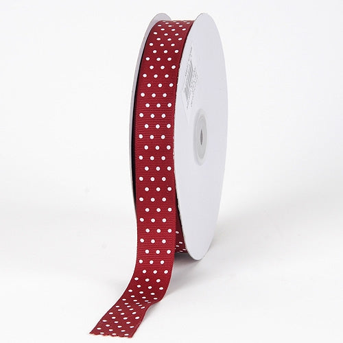 Grosgrain Ribbon Swiss Dot Burgundy with White Dots ( W: 3/8 inch | L: 50 Yards )