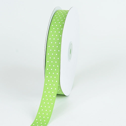 5/8 Inch Kiwi Swiss Dot Grosgrain Ribbon 50 Yards