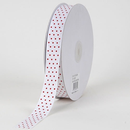 Grosgrain Ribbon Swiss Dot White with Red Dots ( 5/8 inch | 50 Yards )