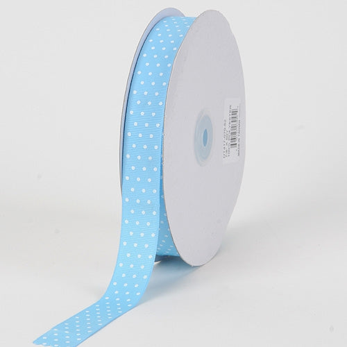Grosgrain Ribbon Swiss Dot Baby Blue with White Dots ( 5/8 inch | 50 Yards )