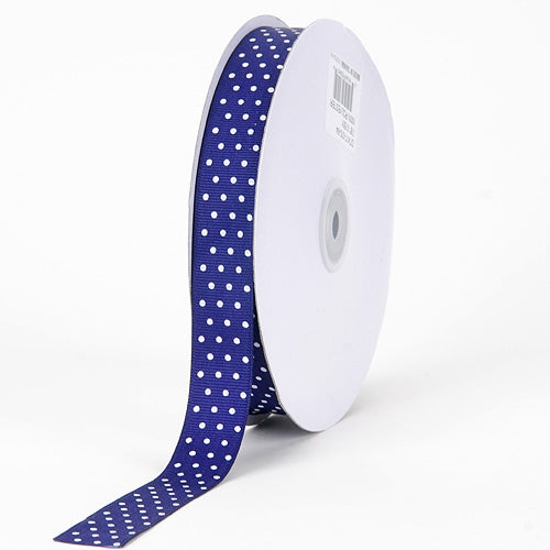 Grosgrain Ribbon Swiss Dot Purple with White Dots ( 5/8 inch | 50 Yards )