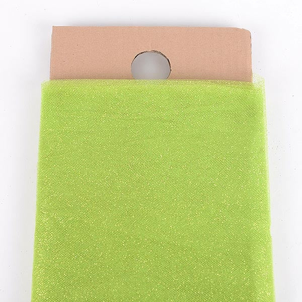 54 Inch Apple Green Glitter Tulle Fabric Bolt