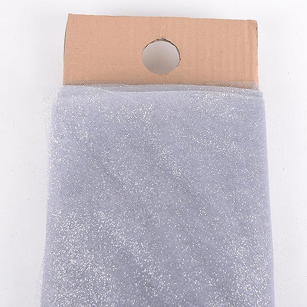 54 Inch Silver Glitter Tulle Fabric Bolt