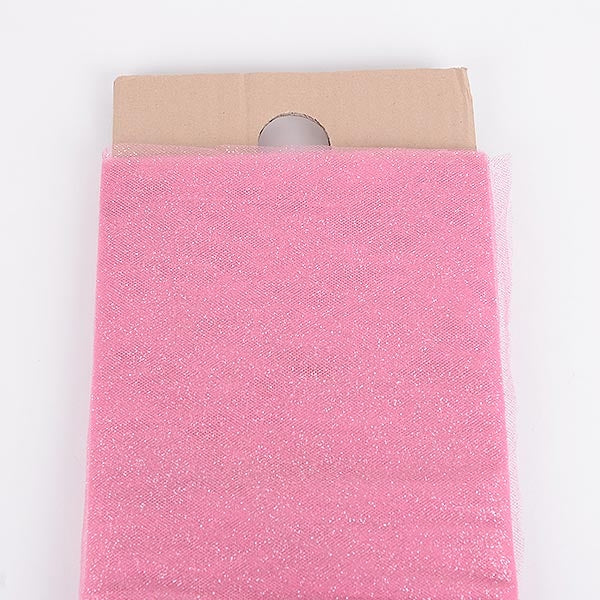 54 Inch Shocking Pink Glitter Tulle Fabric Bolt