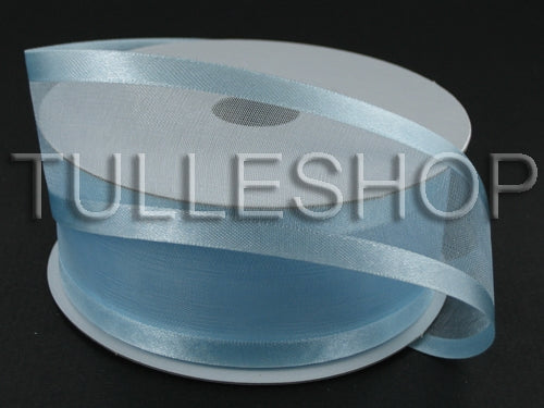 1-1/2 Inch Light Blue Organza Ribbon Two Satin Edges