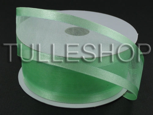 1-1/2 Inch Minty Green Organza Ribbon Two Satin Edges