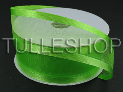 1-1/2 Inch Lime Green Organza Ribbon Two Satin Edges