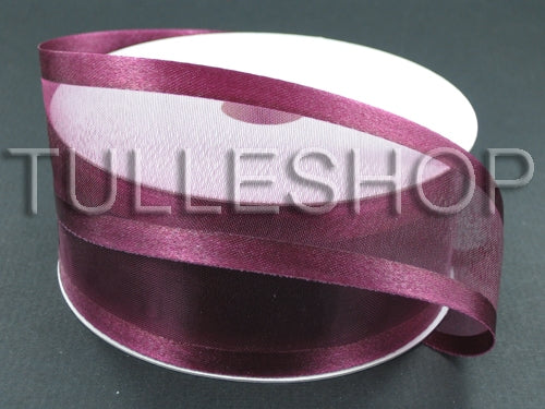 1-1/2 Inch Burgundy Organza Ribbon Two Satin Edges