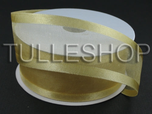 1-1/2 Inch Gold Organza Ribbon Two Satin Edges