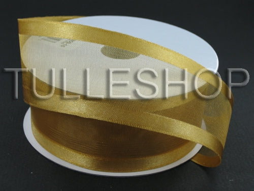 1-1/2 Inch Old Gold Organza Ribbon Two Satin Edges