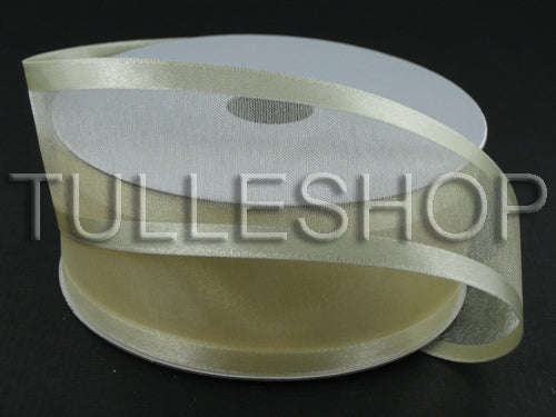 1-1/2 Inch Ivory Organza Ribbon Two Satin Edges